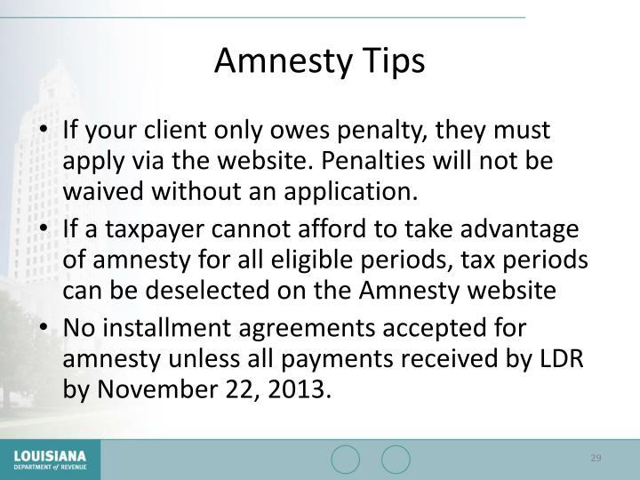 Amnesty Tips