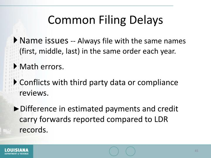 Common Filing Delays