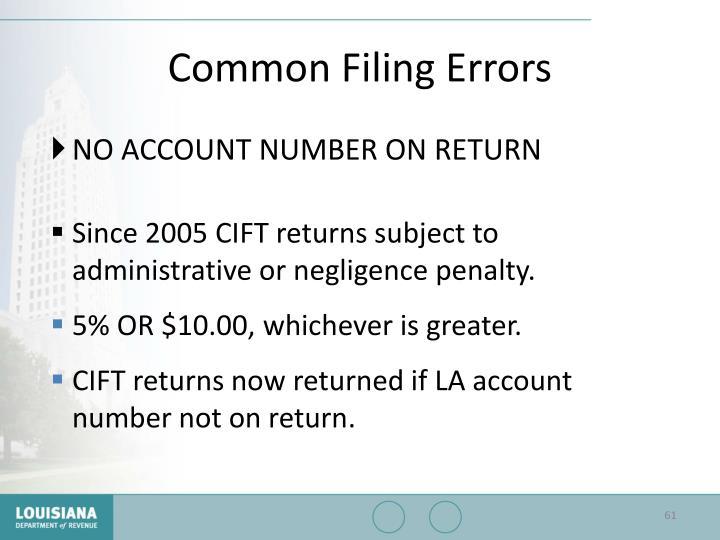 Common Filing Errors