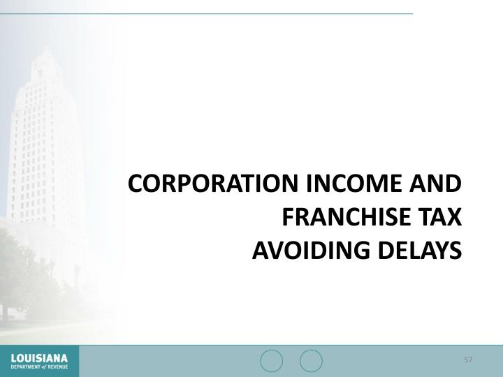 Corporation Income and Franchise Tax