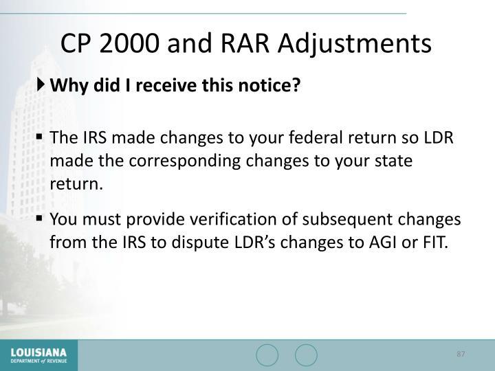 CP 2000 and RAR Adjustments