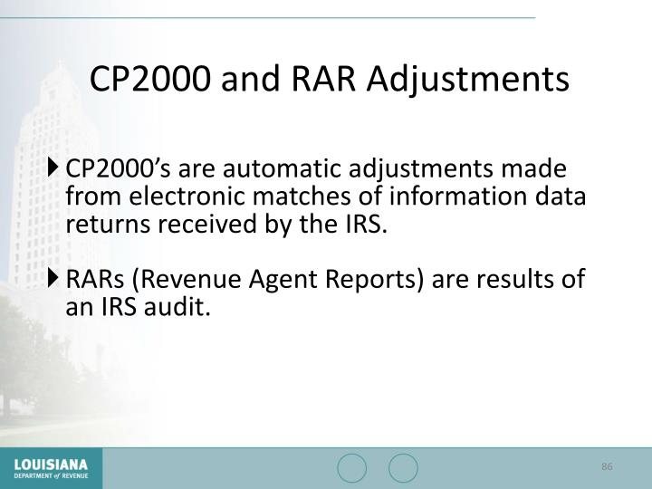 CP2000 and RAR Adjustments
