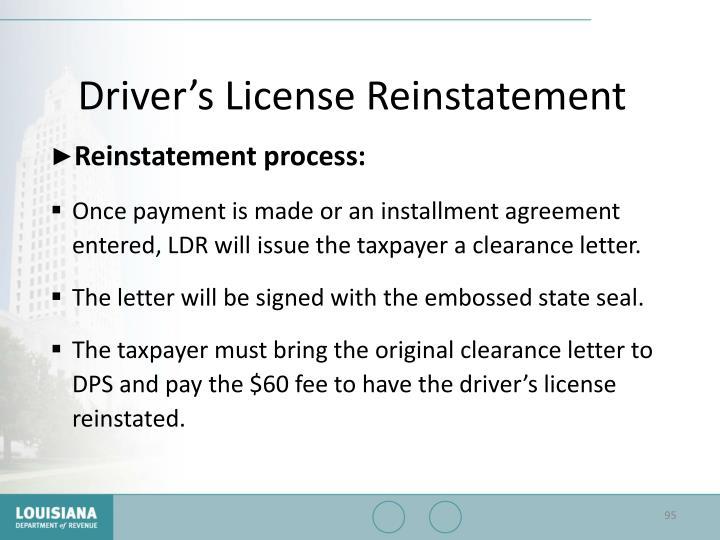 Driver's License Reinstatement