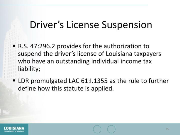 Driver's License Suspension