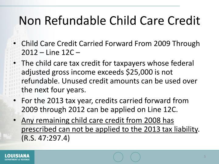 Non Refundable Child Care Credit