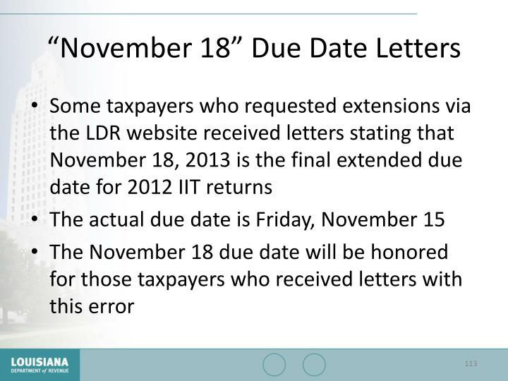 """""""November 18"""" Due Date Letters"""