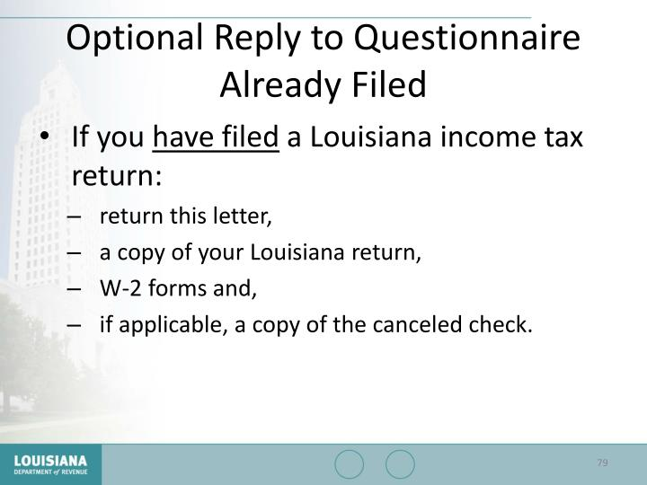 Optional Reply to Questionnaire