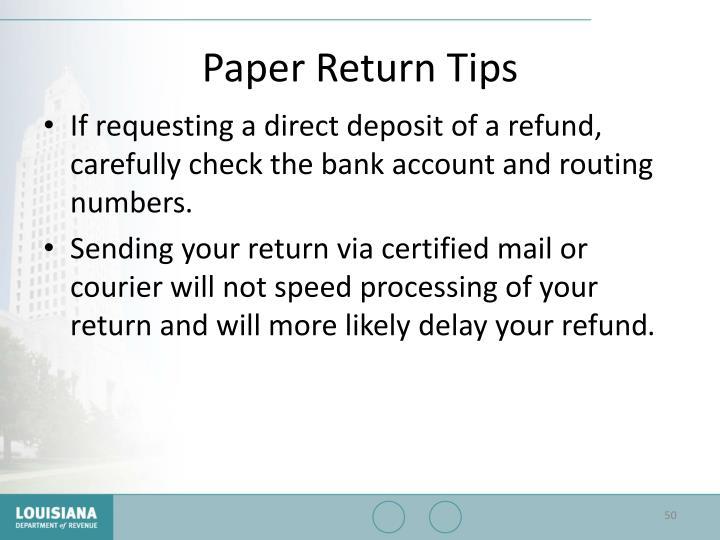 Paper Return Tips