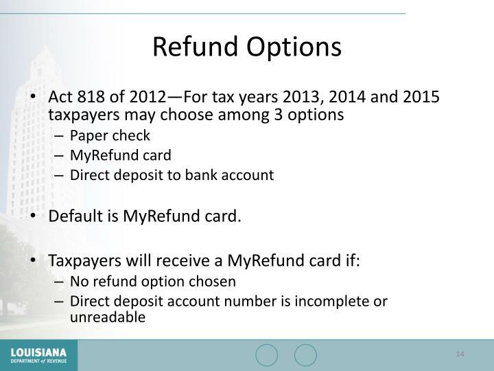 Refund Options
