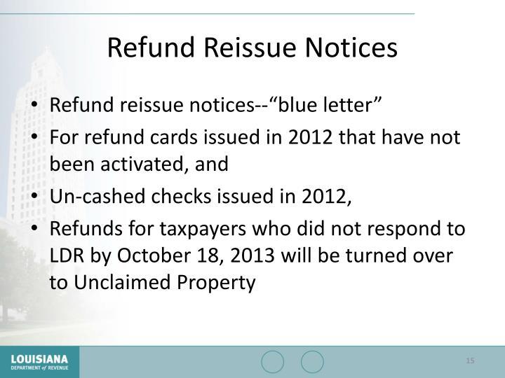 Refund Reissue Notices