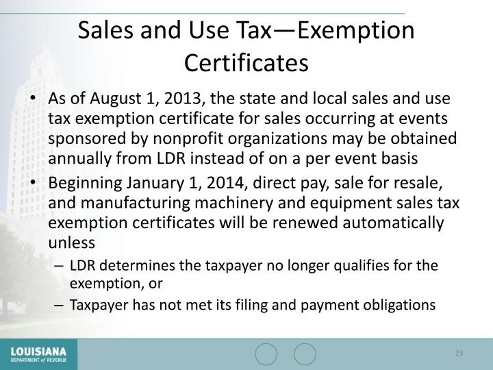 Sales and Use Tax—Exemption Certificates