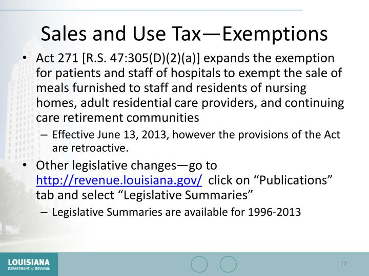 Sales and Use Tax—Exemptions