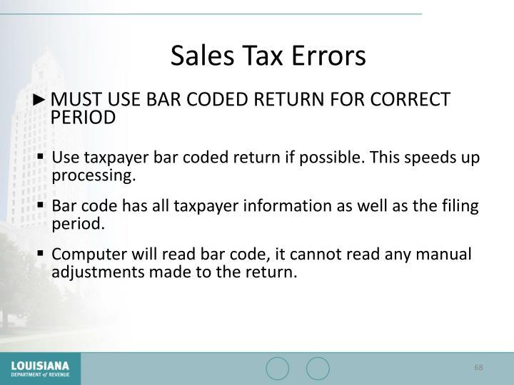 Sales Tax Errors