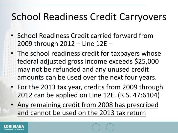 School Readiness Credit Carryovers