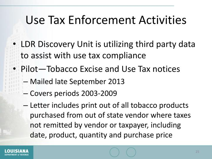 Use Tax Enforcement Activities