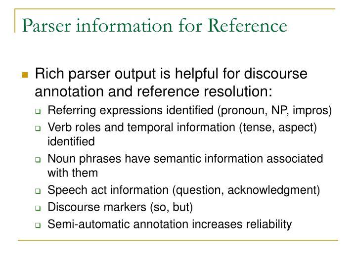 Parser information for Reference