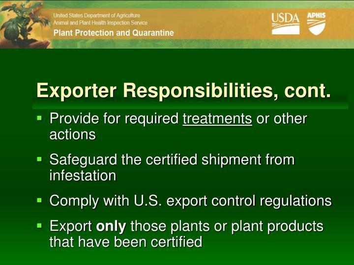 Exporter Responsibilities, cont.