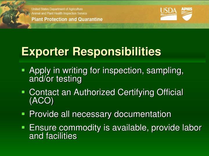 Exporter Responsibilities