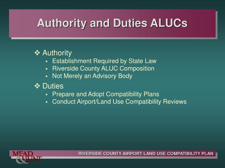 Authority and Duties ALUCs