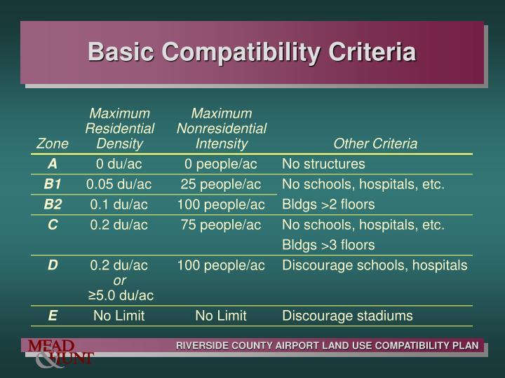 Basic Compatibility Criteria