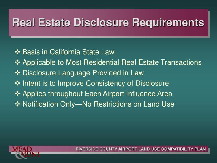 Real Estate Disclosure Requirements