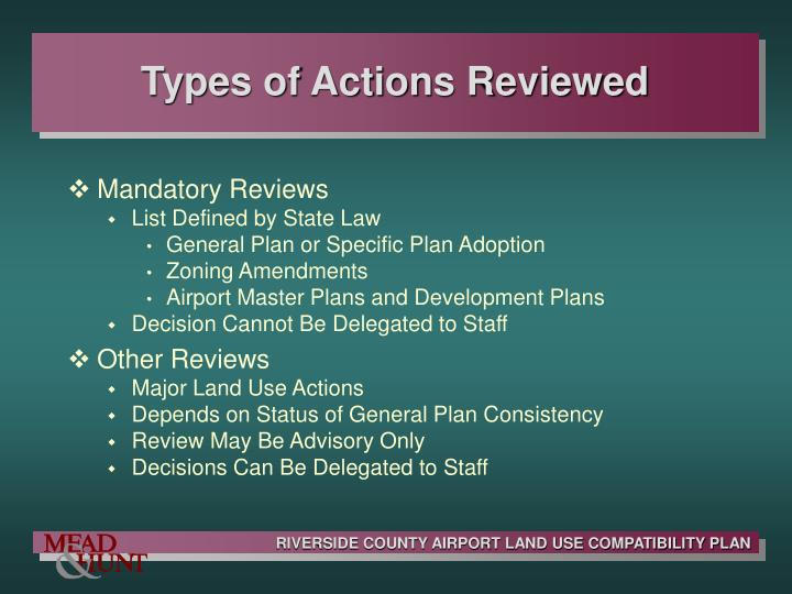 Types of Actions Reviewed