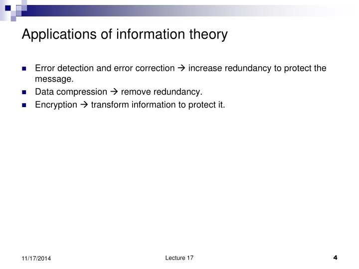 Applications of information theory