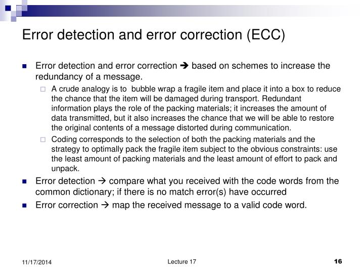 Error detection and error correction (ECC)