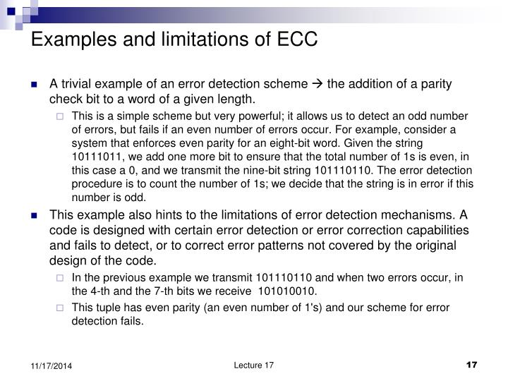 Examples and limitations of ECC