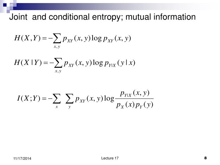 Joint  and conditional entropy; mutual information