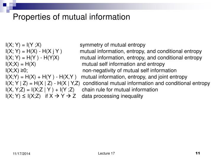 Properties of mutual information