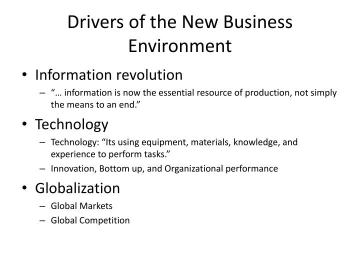 Drivers of the New Business Environment