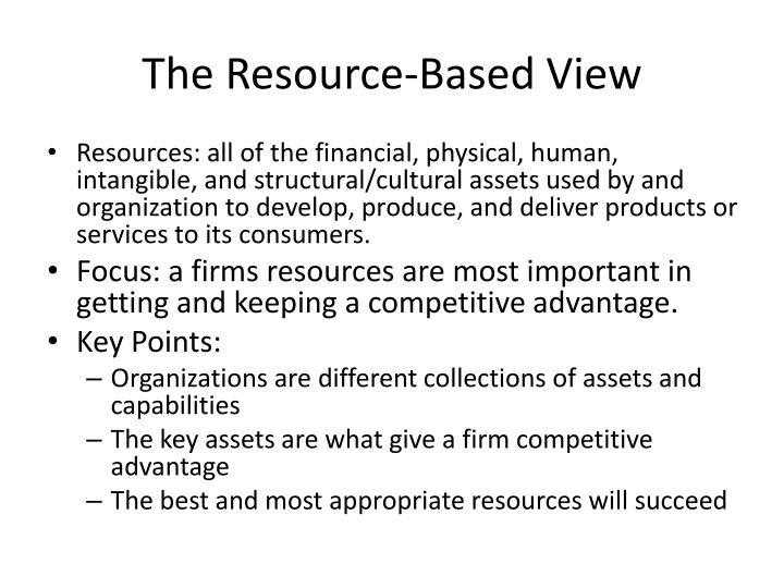 The Resource-Based View