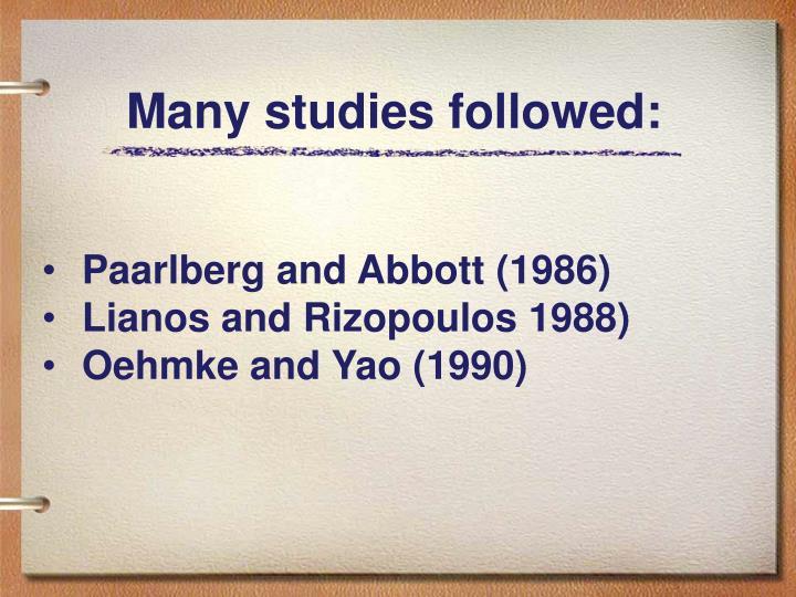 Many studies followed: