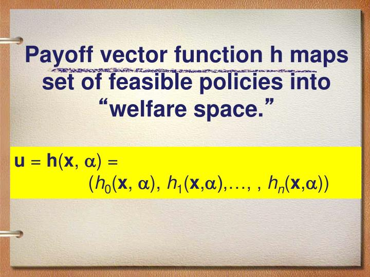 Payoff vector function h maps set of feasible policies into