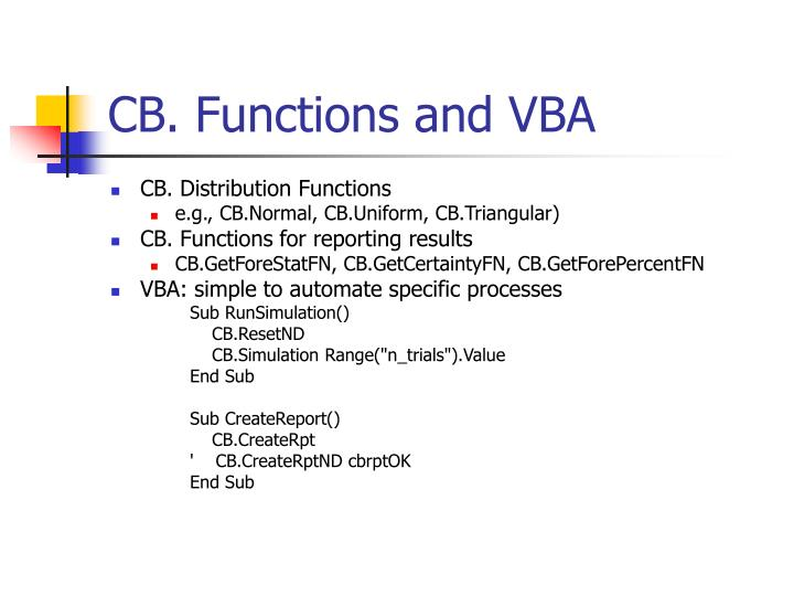CB. Functions and VBA