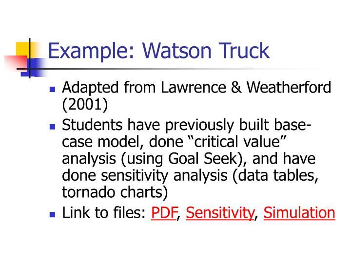 Example: Watson Truck