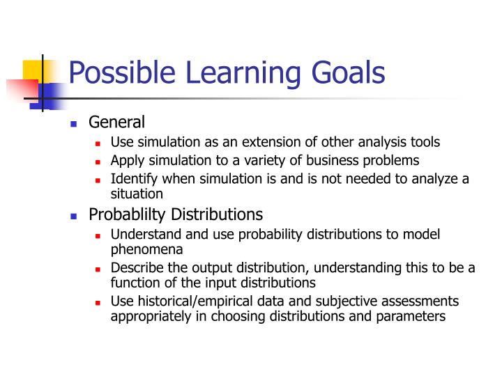 Possible Learning Goals