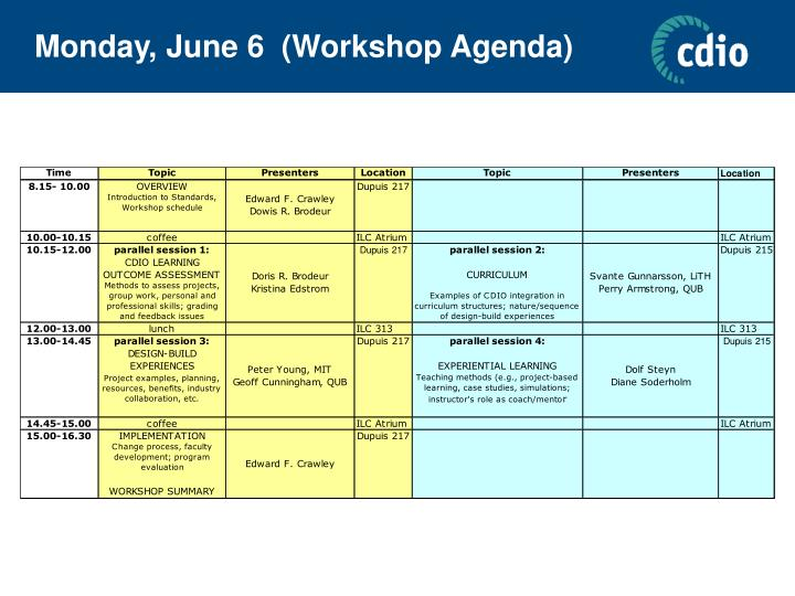 Monday, June 6  (Workshop Agenda)