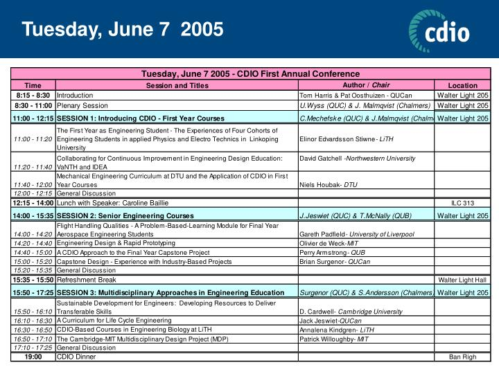 Tuesday, June 7  2005