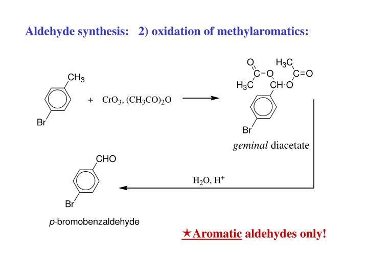 Aldehyde synthesis:   2) oxidation of methylaromatics: