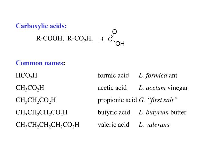 Carboxylic acids: