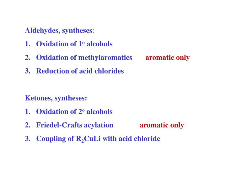 Aldehydes, syntheses
