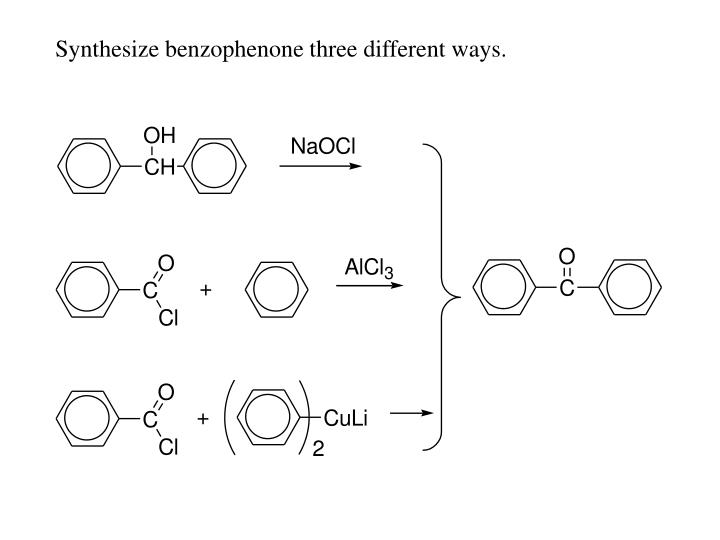Synthesize benzophenone three different ways.
