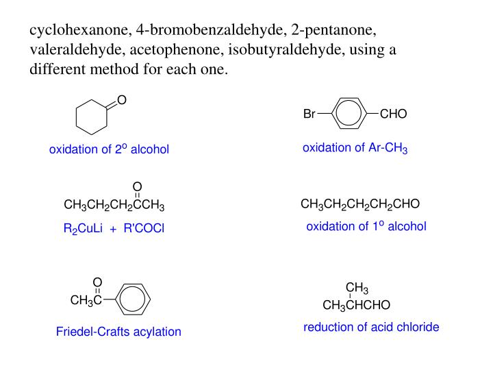 cyclohexanone, 4-bromobenzaldehyde, 2-pentanone, valeraldehyde, acetophenone, isobutyraldehyde, using a different method for each one.