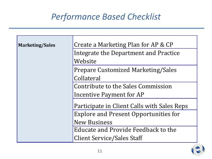 Performance Based Checklist