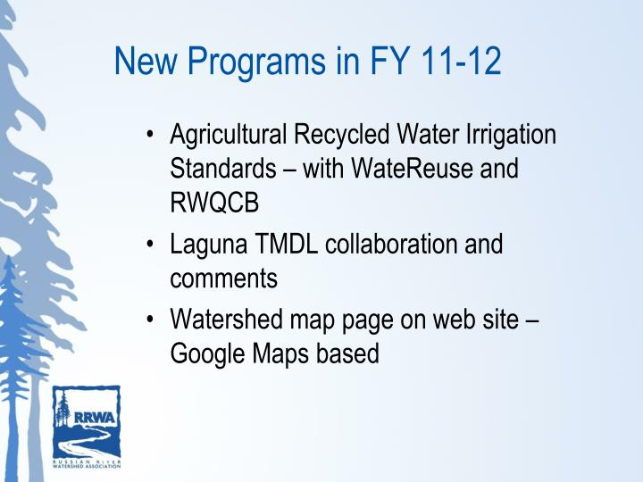 New Programs in FY 11-12