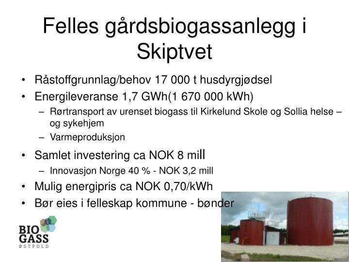 Felles gårdsbiogassanlegg i Skiptvet