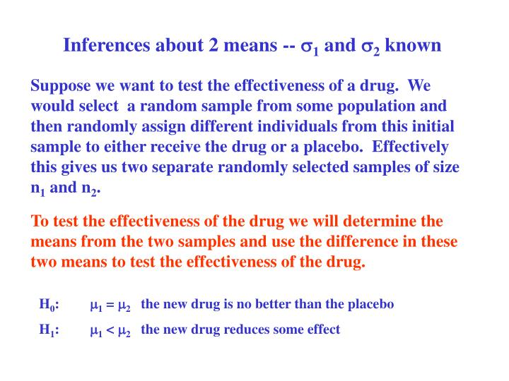 Inferences about 2 means --