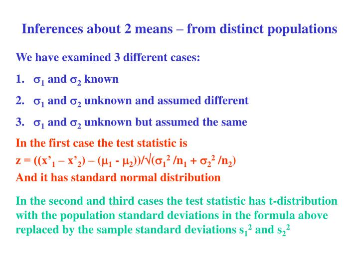Inferences about 2 means – from distinct populations